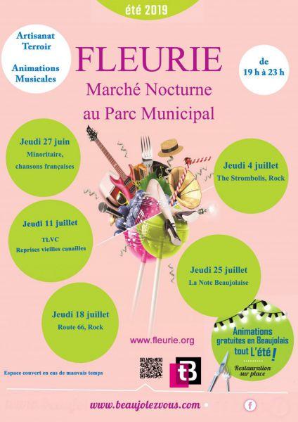 Marché nocturne de Fleurie dans le Rhône